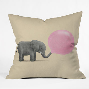 Terry Fan Jumbo Bubble Gum Outdoor Throw Pillow