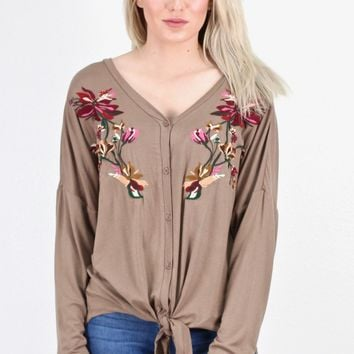 Embroidered & Knotted Button Down L/S {Mocha}