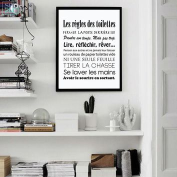 SPLSPL French Toilet Rules Canvas Art Print Poster Home Bathroom Canvas Painting Poster France Wall Art Decor Without Frame