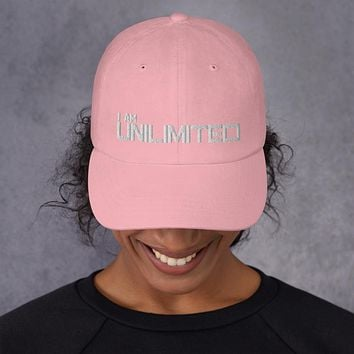 """"""" I AM UNLIMITED"""" Positive Motivational & Inspiring Quoted Embroidery Classic  Dad hat"""