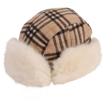 Martine et Bonal Plaid Aviator Hat