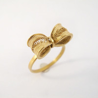 Gold plated bow ring - Sterling Silver Filigree
