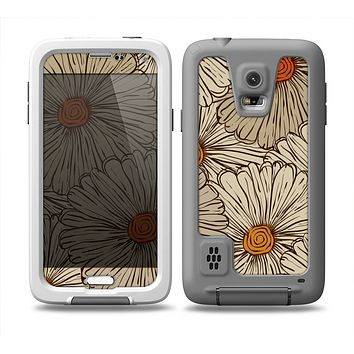 The Tan & Orange Tipped Flowers Pattern Skin Samsung Galaxy S5 frē LifeProof Case