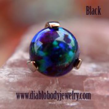 Industrial Strength Titanium 3 Prong Synthetic Opal 2mm 3mm 4mm 5mm 6mm Gem End 18g 16g 14g 12g [TPRFPG] - $32.49 : Diablo Body Jewelry, The Art of High Quality