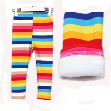 High Quality Girl's Baby 2015 Winter Leggins Cotton Thicken Kids Girls Long Pants 1-8 Age Children Rainbow Color Trousers Jean