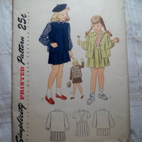 Uncut 1940's Simplicity Sewing Pattern, 2213! Size 5 Girls/Short Mini-Length Skirts/Retro School Uniforms/Button Up Vests/Collared Jackets