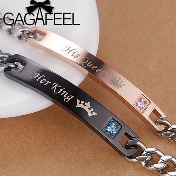 Cool GAGAFEEL Romantic Lover Couple Bracelets Stainless Steel Bangle Her King His Queen DIY Customized Engrave Bracelet Women MenAT_93_12