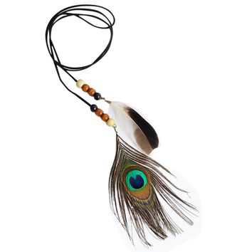 Indian Gorgeous Feather Headband Headdress Headpieces Necklace