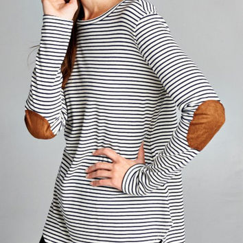 Simply Splendid Suede and Stripes Top