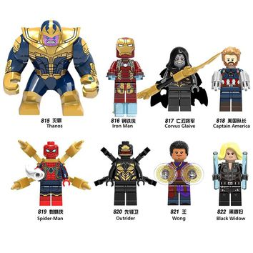Super Heroes Marvel Avengers Infinity War Iron Man Thanos Thor Black Panther Falcon Gamora Building Blocks Compatible LegoING