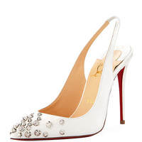 Christian Louboutin Drama Sling 100mm Spike Leather Red Sole Pump