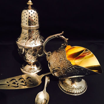 Vintage Sugar Scuttle Ornate Silver Plate With Gold Wash Interior