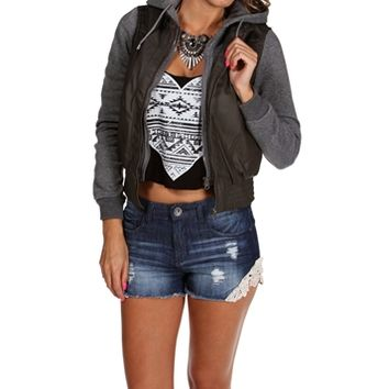Charcoal Faux Leather Knit Jacket