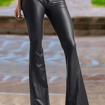 Black Cross Drawstring Lace-up High Waisted Pu Elegant Flare Bell Bottom Long Pants