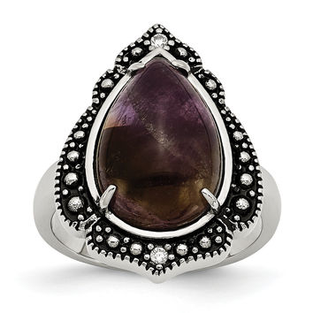 Stainless Steel Polished/Antiqued Amethyst Teardrop Polished Ring