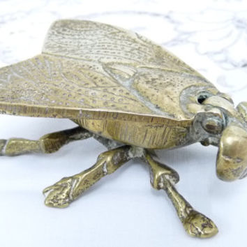 Brass Fly Pot or Figurine, Ashtray, Trinket Dish, Vesta, Cast Brass, Solid Brass, Made in England, Novelty Ornament, Fly figure,