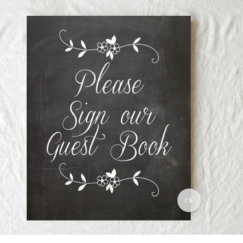 Chalkboard Wedding Sign - Guest Book Sign  - Rustic Weddings - (PG-4)