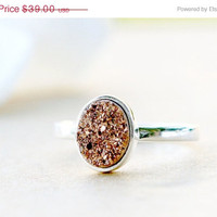 Mothers Day Sale Rose Gold Druzy ring,Geode ring,Gemstone ring,Quartz ring,sterling ring,silver band,simple ring,agate silver,Stacking Ring,