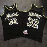 Men's Los Angeles Lakers Magic Johnson Mitchell & Ness Black Straight Fire Camo Swingman Jersey - Best Deal Online