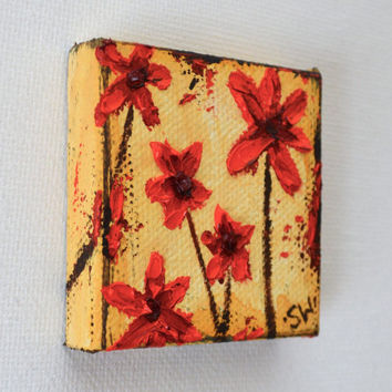 "Tiny art, Miniature, distressed red flowers, Miniature Original Oil Painting, Dollhouse Art, American Girl Doll, 2"", mustard yellow"