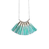 Mint Statement Necklace, Ombre Tassel Necklace, Leather Tassel Jewelry, Silver Necklace, Geometric Necklace, Teal Leather Bib Necklace