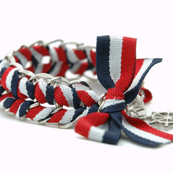 Red Navy White Marine Ribbon Braided Silver Chain by Myvera