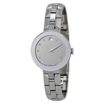Movado Sapphire Silver Diamond Dial Stainless Steel Ladies Watch 0606815