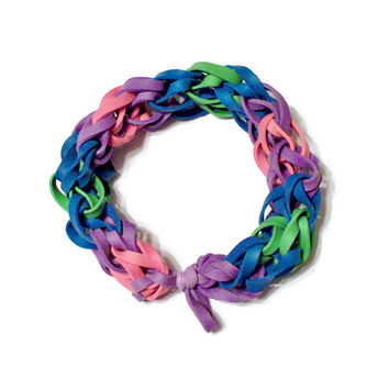 Groovy Tie Dye Rubber Band Bracelet w/ Green, Blue, Purple & Pink Rubber Bands - Colored Bangle Bracelet