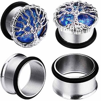 BodyJ4You 4PC Single Flared Created-Opal Tree of Life Tunnels Ear Gauge Plugs Stretch Set 00G