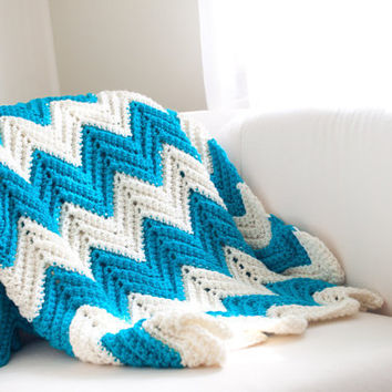 Chevron Stripe Zigzag Blanket Turquoise Ivory Medium by CThandmade