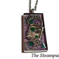 Metaphysical Custom Painted One of a Kind Pendant Necklace - Purple Jewelry