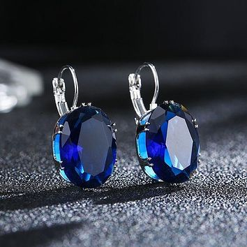 Police Awareness Oval Crystal Hoop Earrings