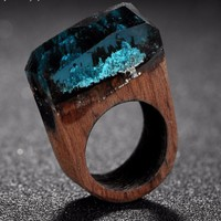 Abstract Multi-Color Crystal Melted Wooden Unisex Rings
