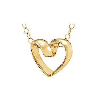 Youth Ribbon Heart Slide Necklace in 14k Yellow Gold, 15 Inch