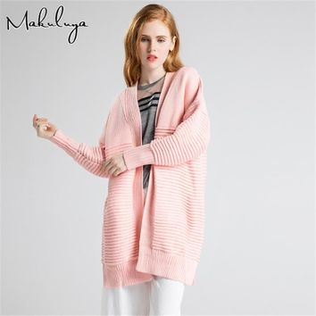 Makuluya Autumn Winter Spring Women sweater Solid color ladies loose knitted cardigan female Wool Cashmere Long Coat 2017 BA