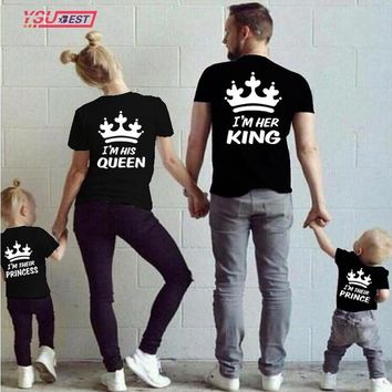 Summer Family Matching Clothes Short Sleeve T -Shirts King Queen Couples T shirt Crown Printed Funny Tops