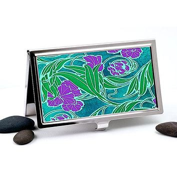 Art Nouveau Business Card Holder in Purple, Green and Teal Flower Design