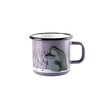 Moomintroll and the Groke enamel mug, purple 2,5 dl