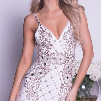 SELAY PAINTED BANDAGE DRESS IN WHITE WITH GOLD