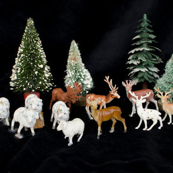 Vintage Bottle Brush Christmas Tree Vintage MINIATURE WOODLAND DECOR, Vintage Christmas Deer Ram Moose Dog