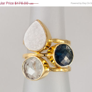 CLEARANCE - Size 7 Ring - Gemstone Statement Ring - Stacking Ring - Stackable Rings - Birthstone Ring- Bezel Rings - Gold Ring - Vermeil R
