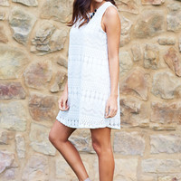 White Crochet Tank Shift Dress