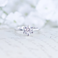 6 Prong Ring - Solitaire Engagement Ring - Round Cut Wedding Ring - Promise Ring - Purity Ring - 1 Carat - Sterling Silver