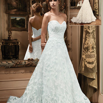 Casablanca Bridal 2127 Strapless Beaded Lace A-Line Wedding Dress