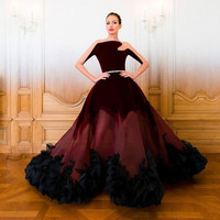 Prom  Dresses Velvet 2017 New Stunning Vestido de festa Burgundy Evening Sheer See Through Long Sleeve Sexy Celebrity  Dress