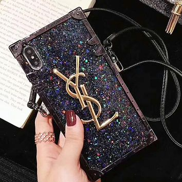 YSL Trending Women Stylish Glitter Mobile Phone Cover Case For iphone 6 6s 6plus 6s-plus 7 7plus 8 8plus X XsMax XR Black/Blue