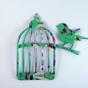 Green with pink flowers Cage and Bird Magnet Made from Arizona can  soda can magnet  animal magnet upcycled magnet bird magnet  gift for her