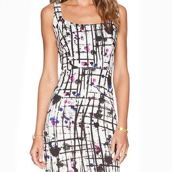 Sleeveless Printed Cocktail Dress with Back Zipper and Cut-out