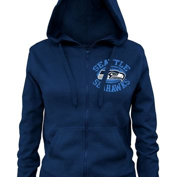 NFL Seattle Seahawks Ladies Zipped Hooded Fleece, Navy, Medium