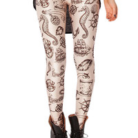 Anchor Print Skinny Leggings